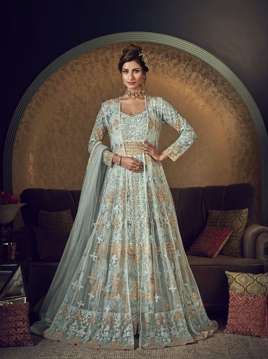Off Withe Color Net Anarkali Suits with Net Dupatta