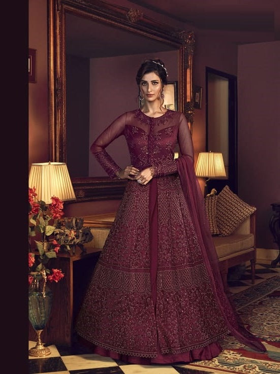 Magenta Color Net Anarkali Suits with Net Dupatta