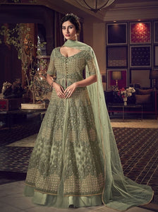 Olive Green Color Net Anarkali Suits with Net Dupatta