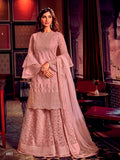 Dusty Pink Sharara Suit  made of Net with Net Dupatta