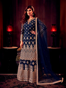Blue Sharara Suit  made of Net with Net Dupatta