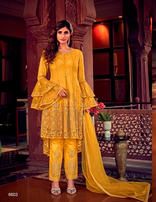 Yellow Sharara Suit  made of Net with Net Dupatta