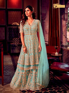 Sky Blue Sharara Suit  made of Net with Net Dupatta