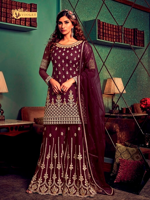 Purple Sharara Suit  made of Net with Net Dupatta