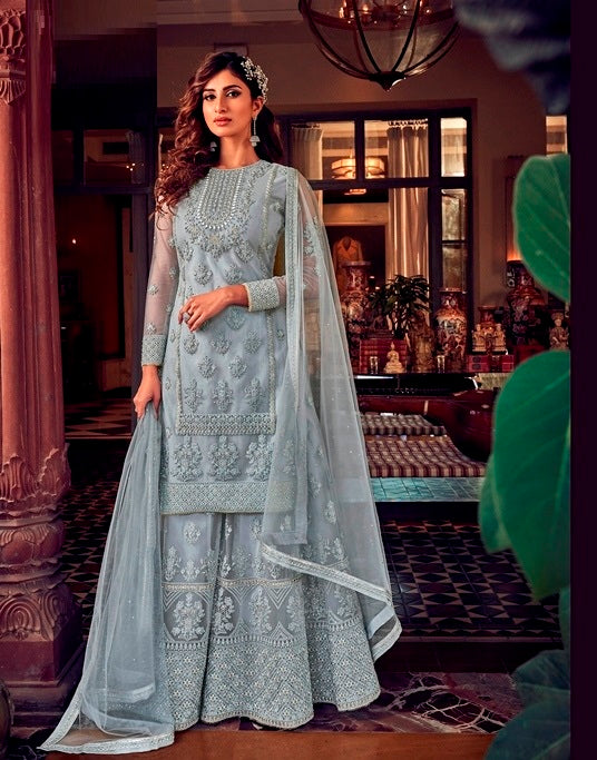 Grey Sharara Suit  made of Net with Net Dupatta