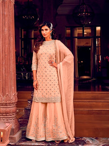 Peach Sharara Suit  made of Georgette with Georgette Dupatta