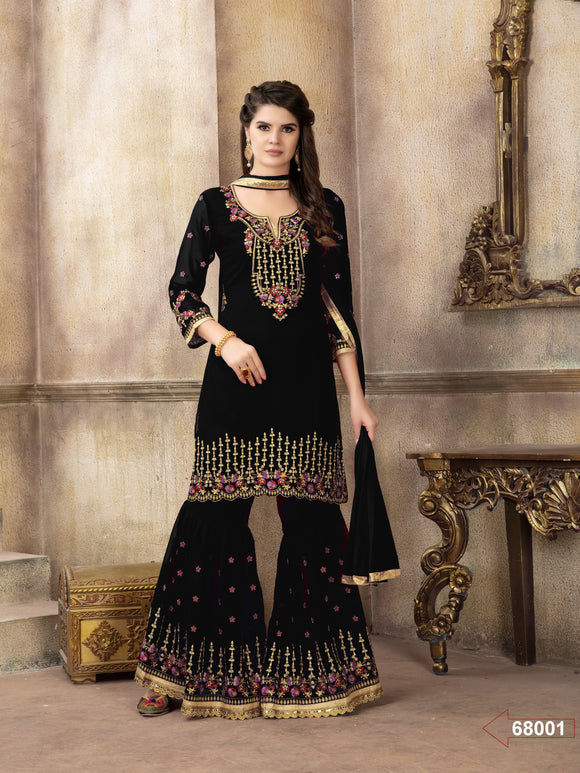 Black Georgette Embroidery work Sharara Suit