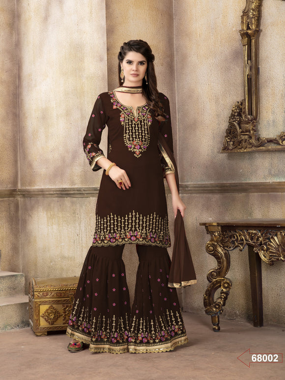 Coffee Color Sharara Suit  made of Faux Georgette with Chiffon Dupatta - Dani Fashions