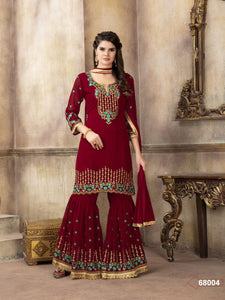 Marron Sharara Suit  made of Faux Georgette with Chiffon Dupatta