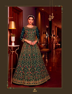 Green Color Net Anarkali Suits with Net Dupatta