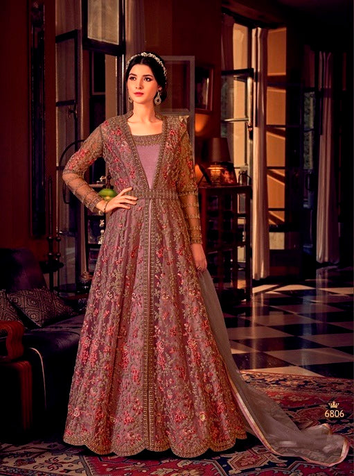 Dusty Pink Color Net Anarkali Suits with Net Dupatta