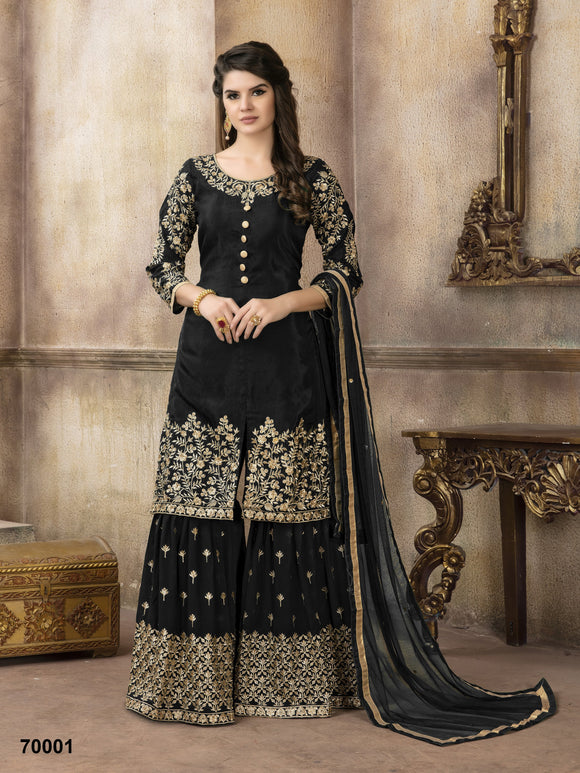 Black Sharara Suit  made of Pure Viscose Upada with Net Dupatta