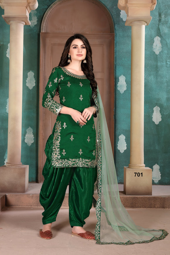 Green Patiala Suit made of Art Silk with Net Dupatta