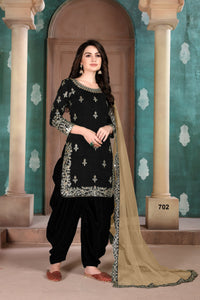 Black Patiala Suit made of Art Silk with Net Dupatta - Dani Fashions