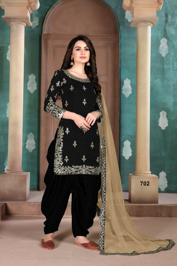 Black Patiala Suit made of Art Silk with Net Dupatta