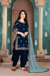 Blue Patiala Suit made of Art Silk with Net Dupatta - Dani Fashions