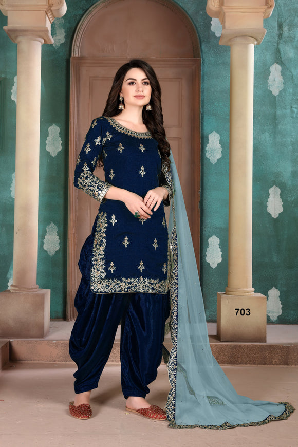 Blue Patiala Suit made of Art Silk with Net Dupatta