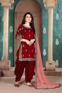 Red Patiala Suit made of Art Silk with Net Dupatta - Dani Fashions