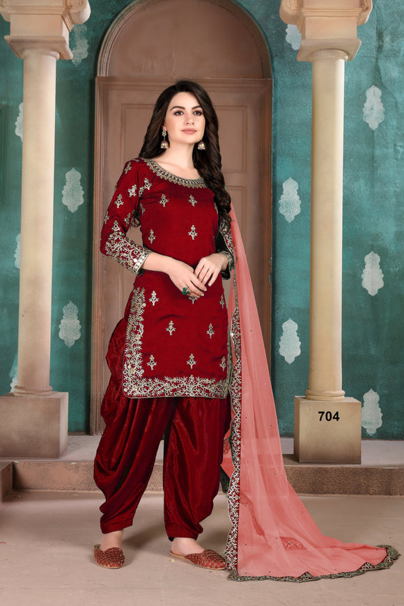 Red Patiala Suit made of Art Silk with Net Dupatta
