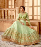 Pista Green Color Georgette Anarkali Suits with Chiffon Dupatta