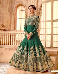 Green Color Georgette Anarkali Suits with Chiffon Dupatta