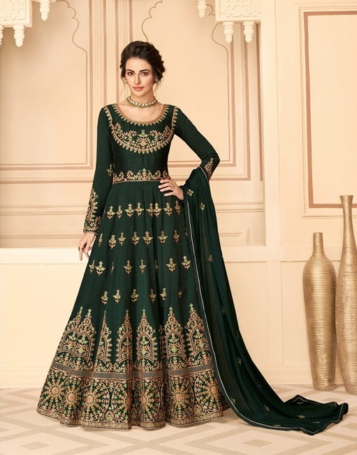 Dark Green Color Pure silk Anarkali Suits with Chinnon Dupatta