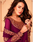 Purple Color Georgette Anarkali Suits with Georgette Dupatta