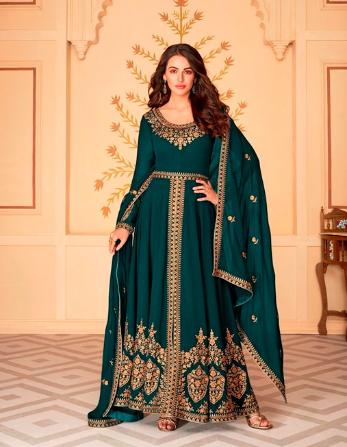 Rama Color Georgette Anarkali Suits with Georgette Dupatta