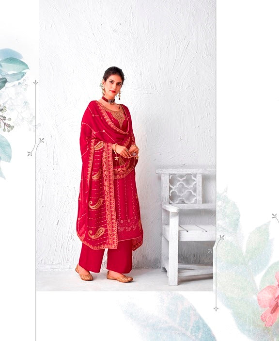 Red Plazzo Suit  made of Silk with Georgette Dupatta