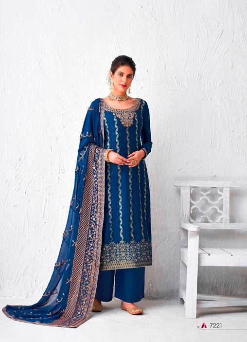 Blue Plazzo Suit  made of Silk with Georgette Dupatta