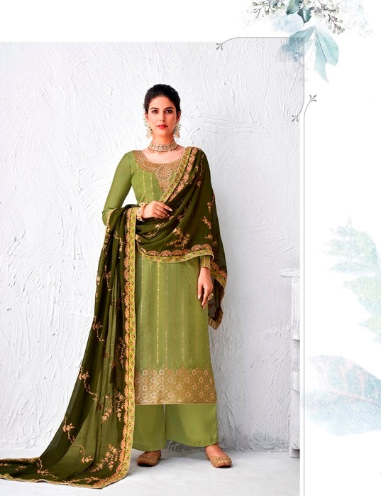 Green Plazzo Suit  made of Silk with Georgette Dupatta