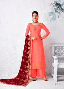 Peach Plazzo Suit  made of Silk with Georgette Dupatta