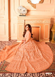 Orange Color Net Anarkali Suits with Net Dupatta