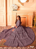 Purple Color Net Anarkali Suits with Net Dupatta