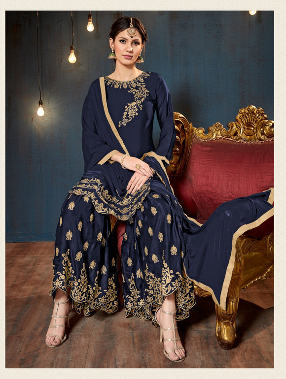 Neavy Blue Satin Georgette Embroidery work Sharara Suit