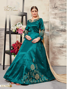 Rama silk Floor length Embroidery Anarkali suits