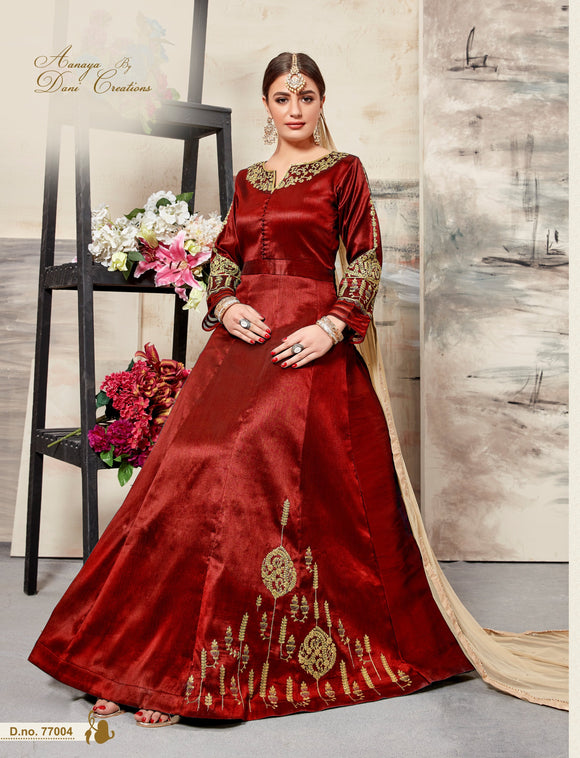 Marron Color Tafeta Resham Work,Stone Anarkali Suits with Net Duppatta - Dani Fashions