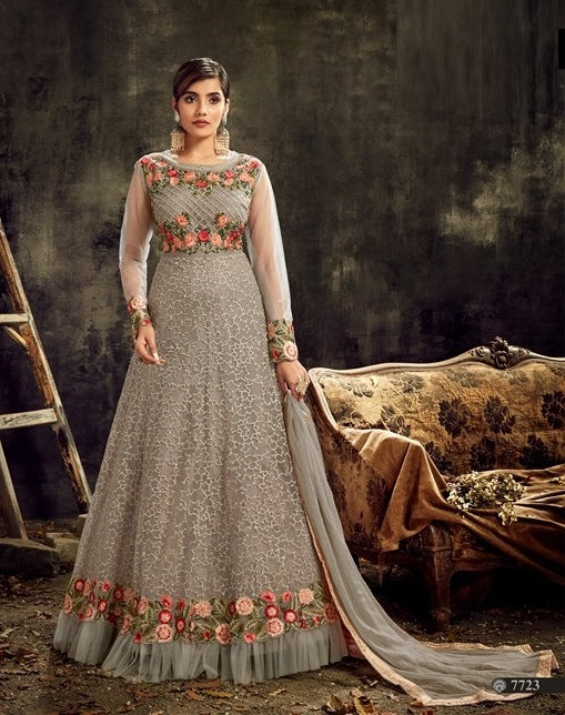 Grey Color Net Anarkali Suits with Chiffon Dupatta