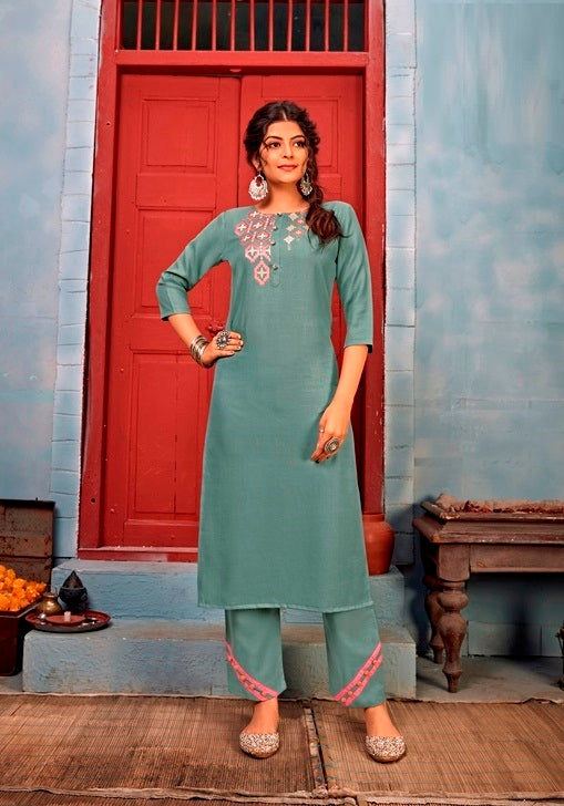 Dusty Green Reyon Embroidered Work Kurti