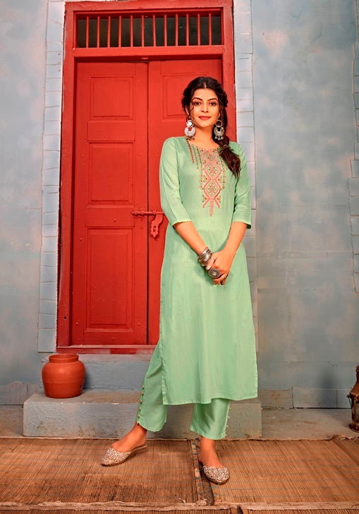 Green Reyon Embroidered Work Kurti