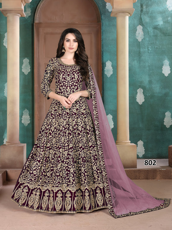 Purple Color Faux Georgette Anarkali Suits with Net Dupatta