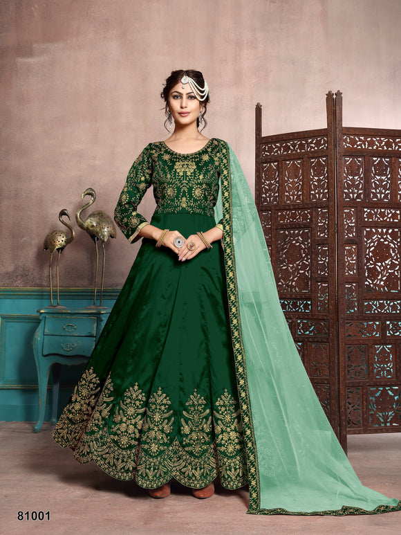 Green color art silk Floor length Anarkali suits