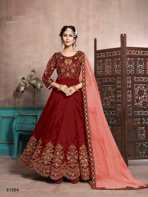 Marron Color Art Silk Resham Work,Stone Anarkali Suits with Net Duppatta - Dani Fashions