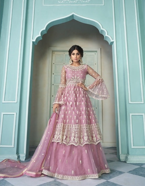 Pink Sharara Suit  made of Net with Net Dupatta