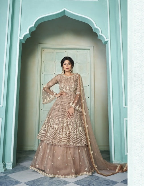 Brown Sharara Suit  made of Net with Net Dupatta