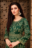 Green Color Taffeta Silk Anarkali Suits with Net Dupatta - Dani Fashions
