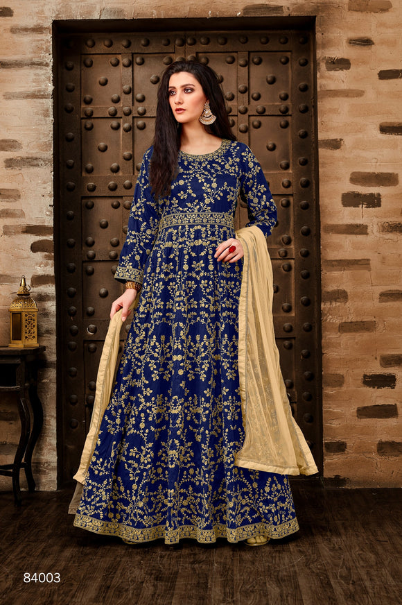 Blue Color Taffeta Silk Anarkali Suits with Net Dupatta - Dani Fashions