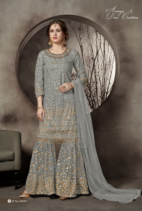 Gray Sharara Suit  made of Net With Santool Inner with Net Dupatta - Dani Fashions