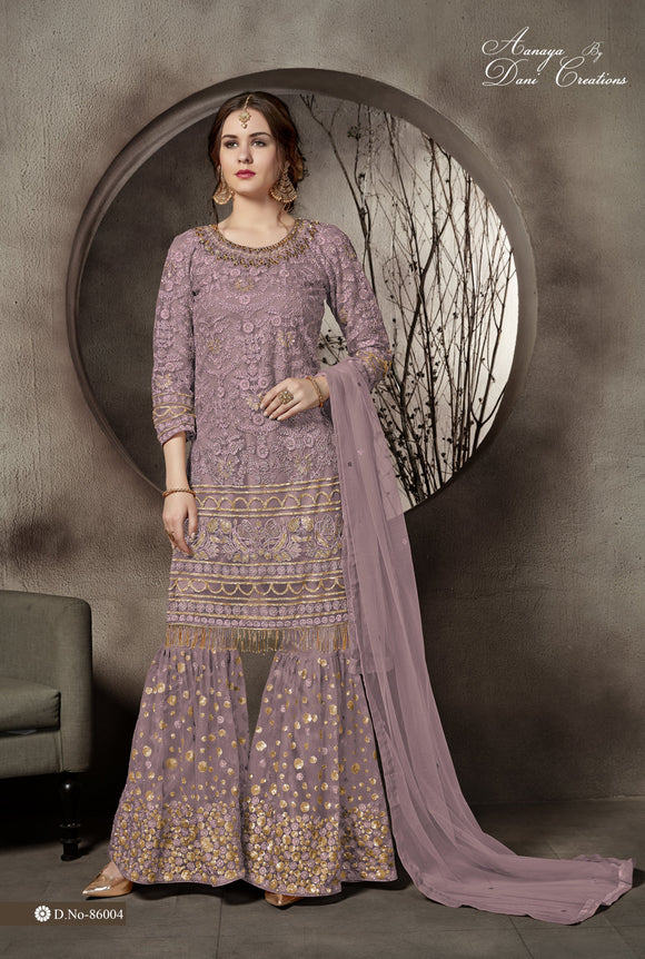 Dusty Pink Net With Heavy Lace Work Sharara Suit