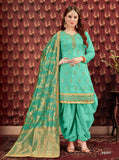 Turquoise Patiala Suit made of Pure Viscose Upad with Jacquard Dupatta